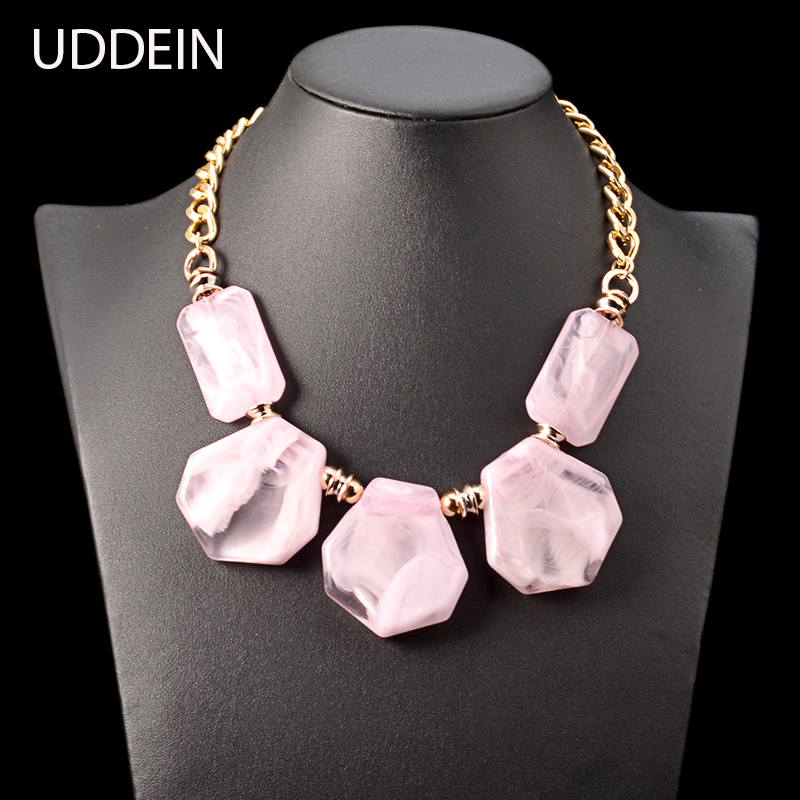 UDDEIN Bohemian pink resin gem necklace women Nigerian wedding Indian jewelry statement choker necklace & pendant wholesale lauren ralph lauren new deep blue navy women s size 8 slim leg relaxed pants $98