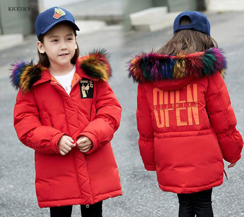 2017 Russia Thick Warm Color Fur Hooded Winter Solid Slim Duck down Coat Child Jacket For Girls And Boy Kids Outerwear For 5-10T winter girl jacket children parka winter coat duck long thick big fur hooded kids winter jacket girls outerwear for cold 30 c