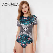 AONIHUA One Piece Swimsuits Women Short Sleeve Slim Retro Green Print Floral Beach Surfing Swimwear Zipper Swimming Suit XXL