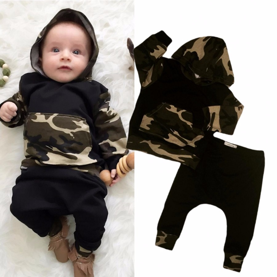 Retail 2017 New Autumn and winter baby boy clothes baby born Camouflage hats long suit 2 PCS camouflage with hood fleece + leisu