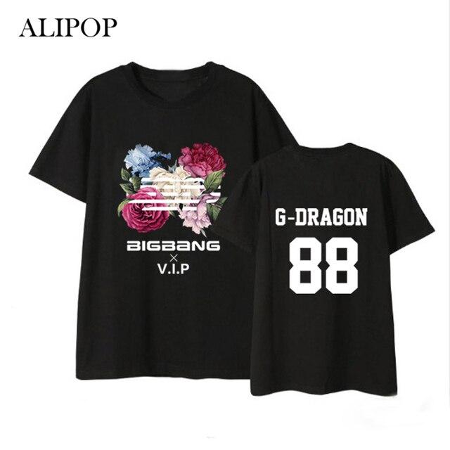 ALIPOP Kpop BIGBANG FLOWER ROAD Album Shirts Hip Hop Casual Loose Clothes Tshirt  T Shirt Short