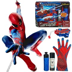 Figure Toys Amazing Spiderman Brinquedos Spinning Spray Web Shooter with Hero Gloves 2 IN 1 web fluid water shooter kid juguetes