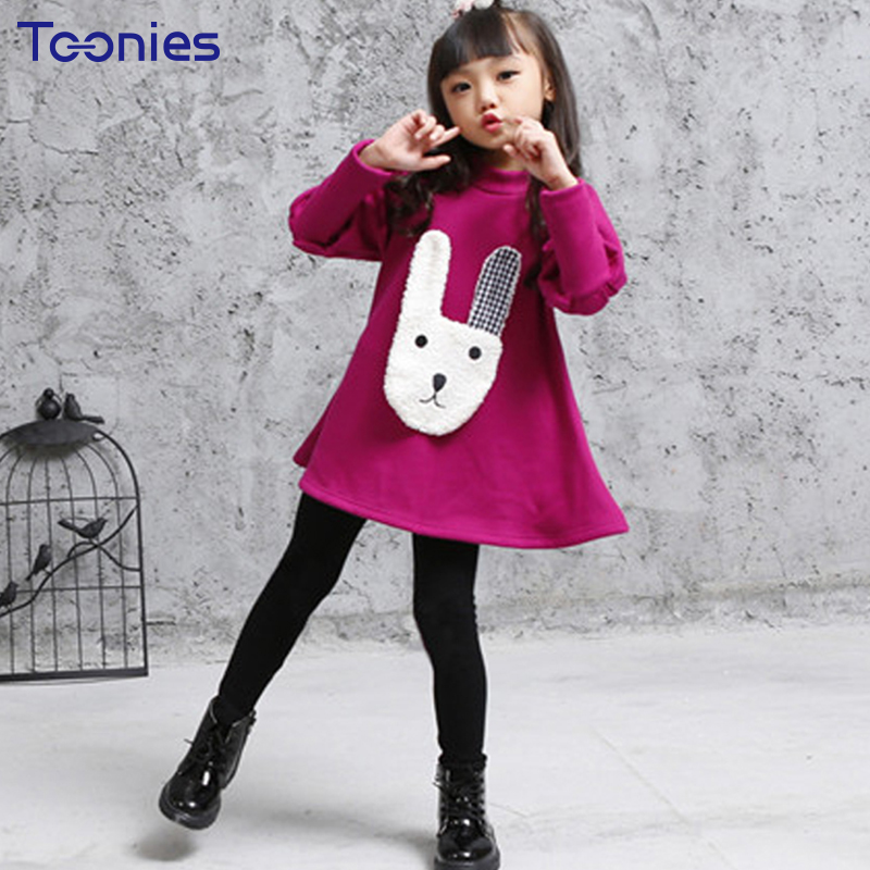 Pants+Dress Girls Suit Thick Cotton Children Sportswear New Autumn Winter Kids Clothing Sets Casual Loose Princess Girl Costumes autumn new fashion cotton jeans women loose low waist washed vintage big hole ripped long denim pencil pants casual girl pants