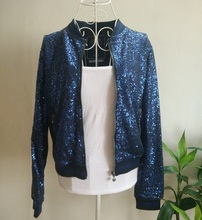 Diamond Blue Sequins Runway Women Jacket Cool Luxurious Casual Shiny Sequin Jacket Party
