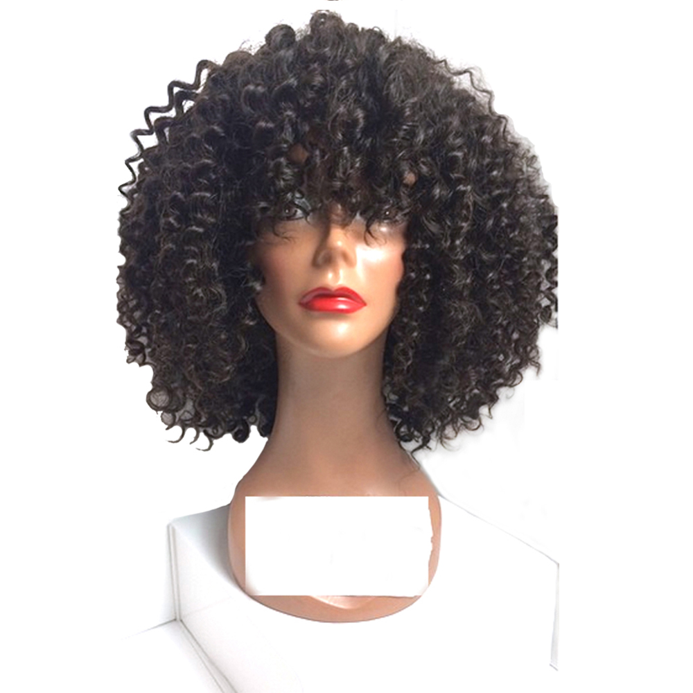 African American Bob Natural Afro Wigs Heat Resistant Kinky Curly Machine Made Synthetic Wig For Black Women