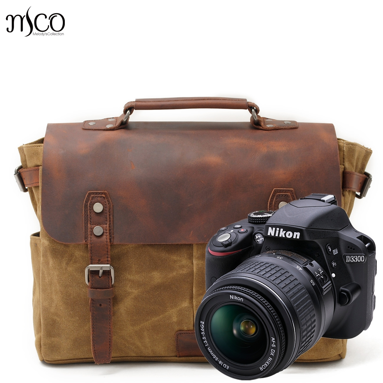 Man Vintage Luxury Cowboy Oil Skin real Leather canvas Bags briefcases DSLR SLR Camera retro Single