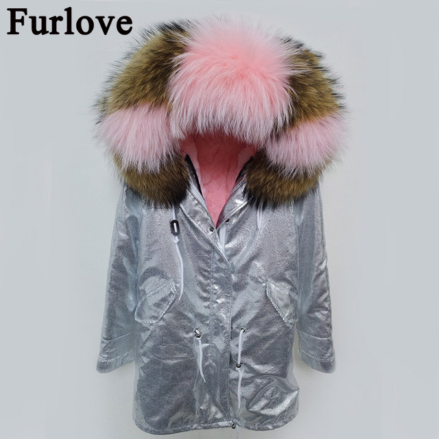 2017 army green winter jacket coat women parka real large Raccoon Fur Collar hooded natural rabbit real fur Thick Warm Fur liner printed long raccoon fur collar coat women winter real rabbit fur liner hooded jacket women bomber parka female ladies fp896