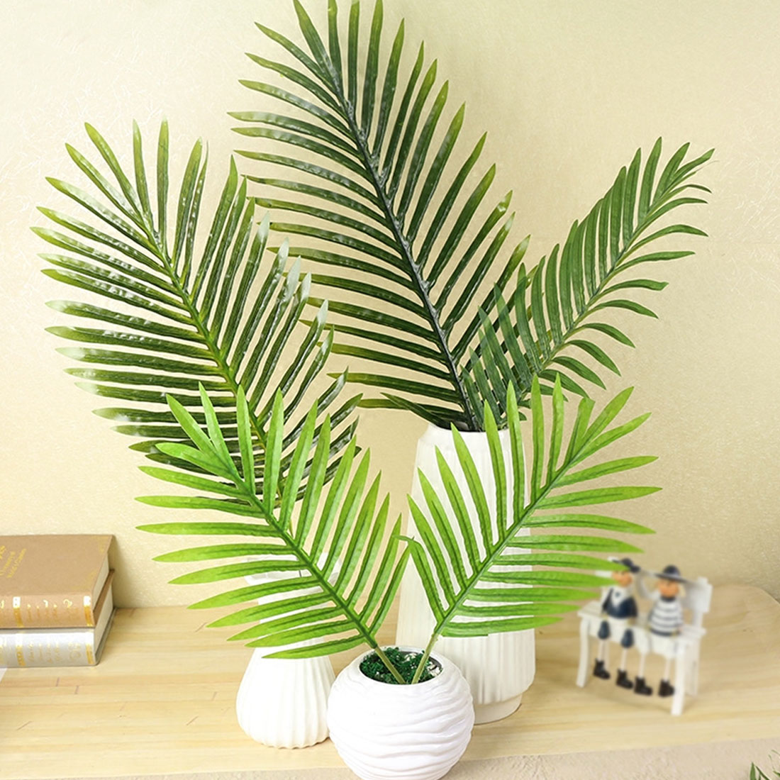 Large Artificial Fake Palm Tree Leaves Green Plastic Leaf for DIY ...