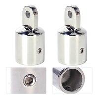 DWCX New 2Pcs Set Stainless Steel 7 8 Silver Pipe Eye End Cap Bimini Top Fitting