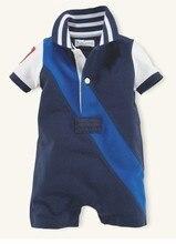 Nouveau Beau bébé garçons coton barboteuses mignon bébé garçons cavaliers d'été enfants portent marque polo barboteuses infantile salopette 16J03