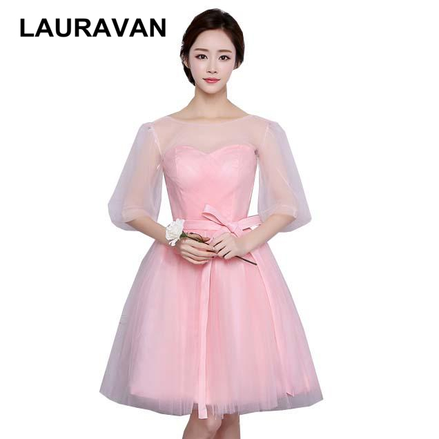 Corset O Neck Sparkly Bridesmaid Dresses Light Pink Party Dress Pastel With Sleeves Ball Gown For