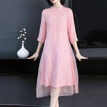 Pink mulberry silk dress high quality women plus size large midi embroidery floral robe dresses summer elegant vintage clothing summer green silk chiffon dress for women plus size large high quality robe midi dresses elegant vintage sleeveless clothing