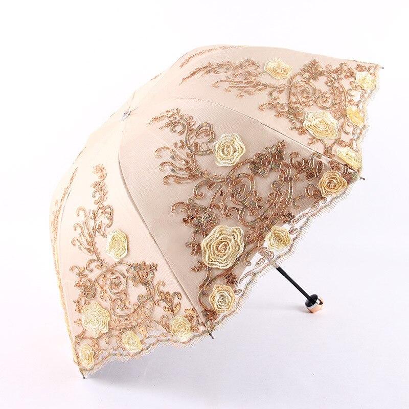 UV Three folding Sunny Female Luxury Lace Double layer Embroidery Umbrella Rain Woman New Black Rubber Anti UV Umbrellas Z516 in Umbrellas from Home Garden