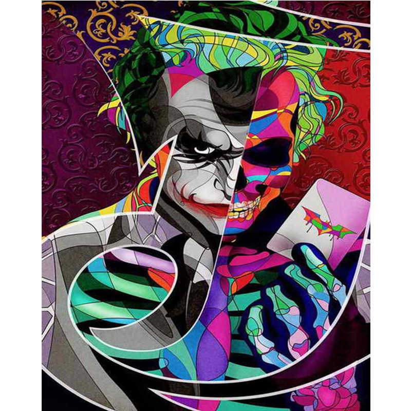 Joker Batman Dark Knight Needlework 5d Diy Diamond Painting Mosaic Home Decor Cross Stitch Square Drill Full Diamond Embroidery