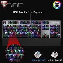 Motospeed CK108 Chơi Game Bàn Phím Cơ 104 phím Xanh Dương Công Tắc Đen Có Dây LED Backlit RGB Bàn Phím dành cho game thủ Nga Tiếng Anh