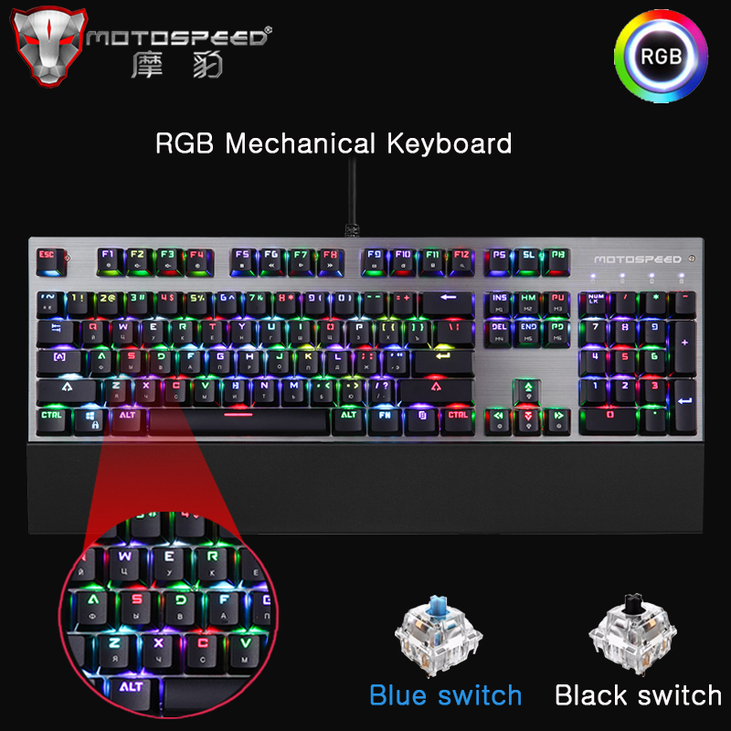 Motospeed CK108 Gaming Mechanical Keyboard 104 keys Blue Black Switch Wired LED Backlit RGB Keyboards for gamer Russian English
