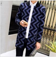 NEW Autumn And winter Men fashion jacket long pattern sweater knit cardigan coat windbreaker Casual Sweater trench tide costumes