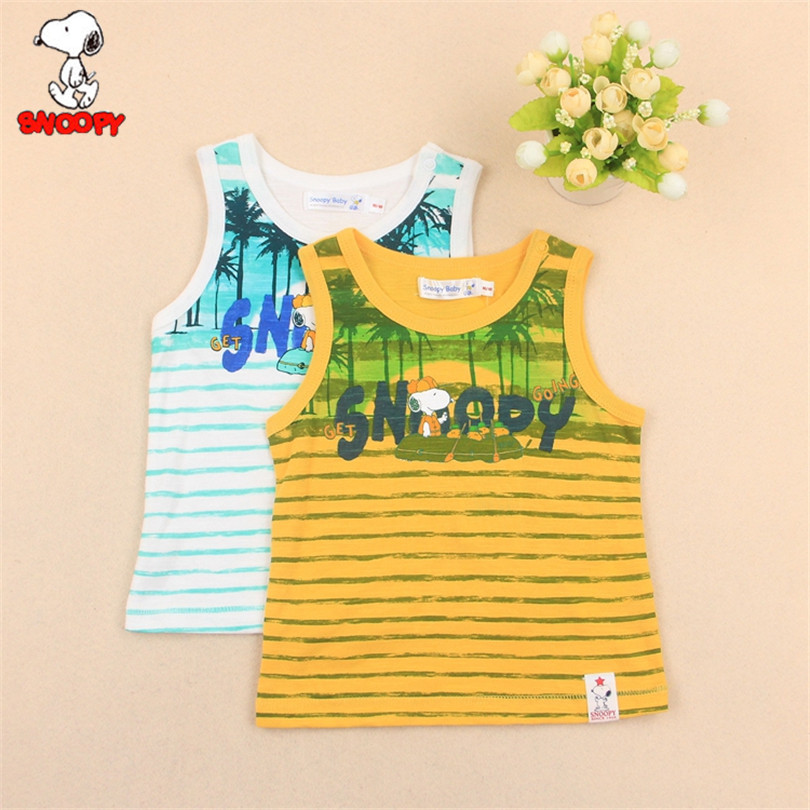 Snoopy 2018 Summer Kids Boy Printed Tops Baby Boys Sleeveless 100% Cotton Cartoon T Shir ...