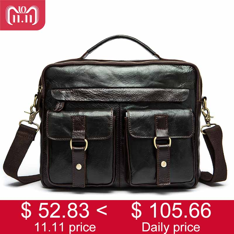 100% Genuine Leather Men's Messenger Bag Crazy Horse Men Leather Handbag Vintage Business Black Male Crossbody Shoulder Bag 2019 vitacci балетки vitacci 111144 красный