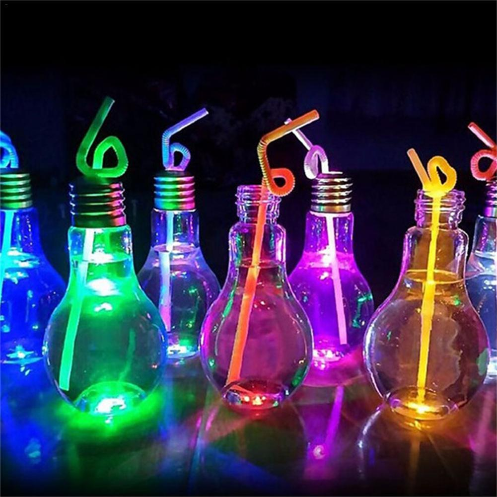 Creative Light Bulb Drink Juice Bottles Cute Juicer Milk Summer Water Bottle Random Light Color Delivery