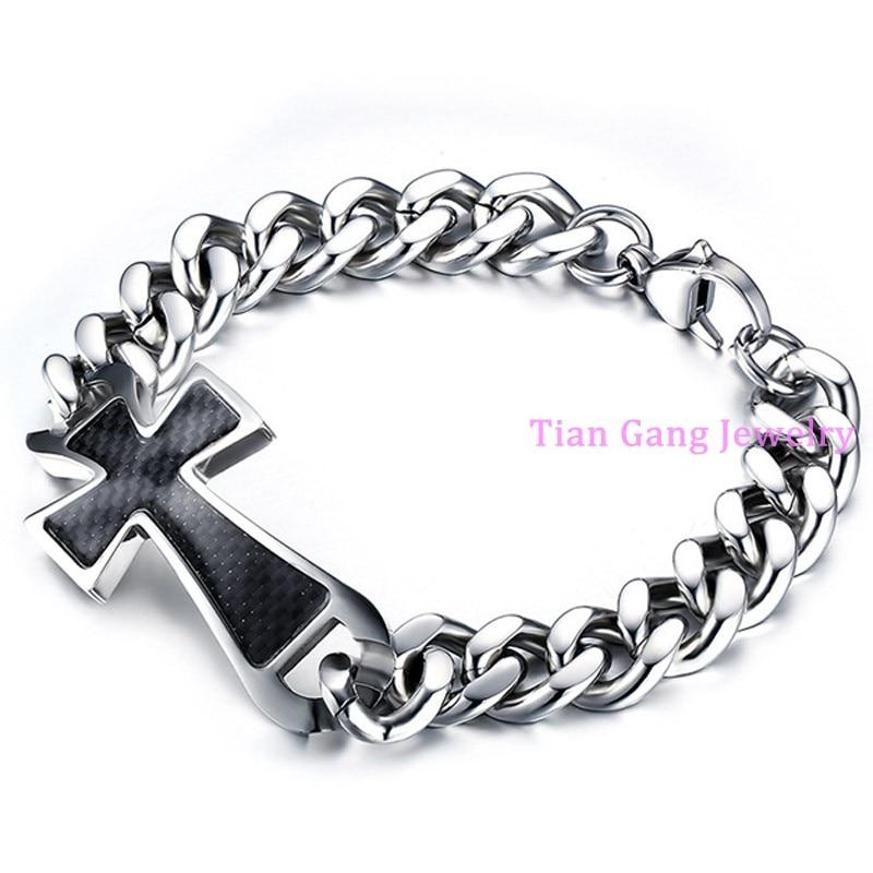8e1e93f6d1c3 Nuevo encanto de plata 316L Cruz del acero inoxidable negro cadena pulsera hombres  regalo joyería