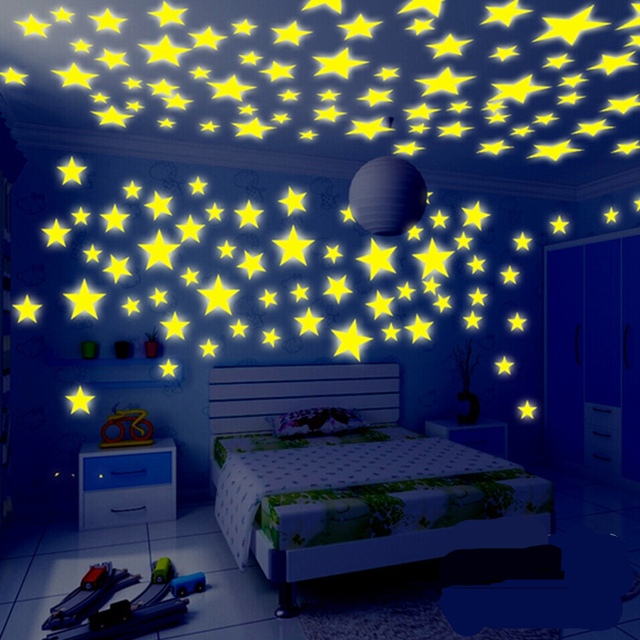 100pcs 3d wall stickers decal glow in the dark baby kids bedroom