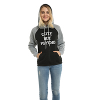 CUTE BUT PSYCHO Letter Print Casaul Hoodies Sweatshirt For Women 2017 Autumn Winter Female Pullover Sweatshirt