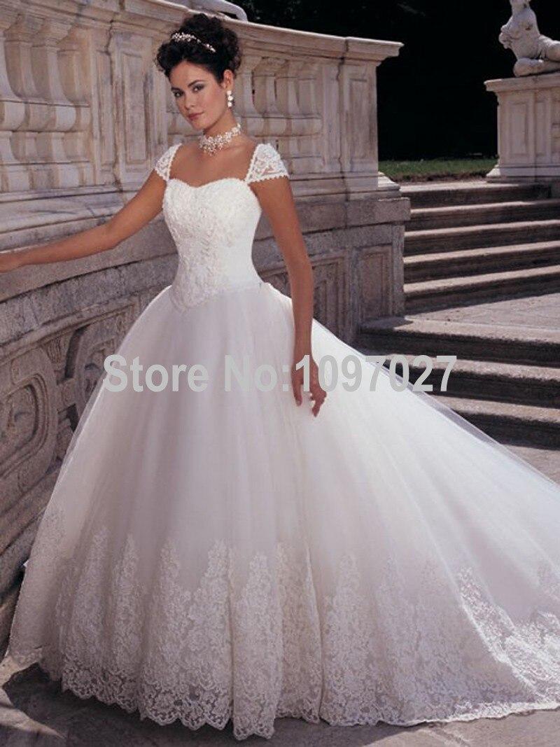 Ball Gown Sweetheart Cap Sleeve Corset font b Wedding b font font b Dresses b font