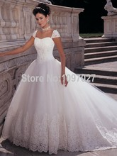 Ball Gown Sweetheart Cap Sleeve Corset Wedding Dresses Court Train Tulle Robe De Mariage 2015 With Appliqued AS32