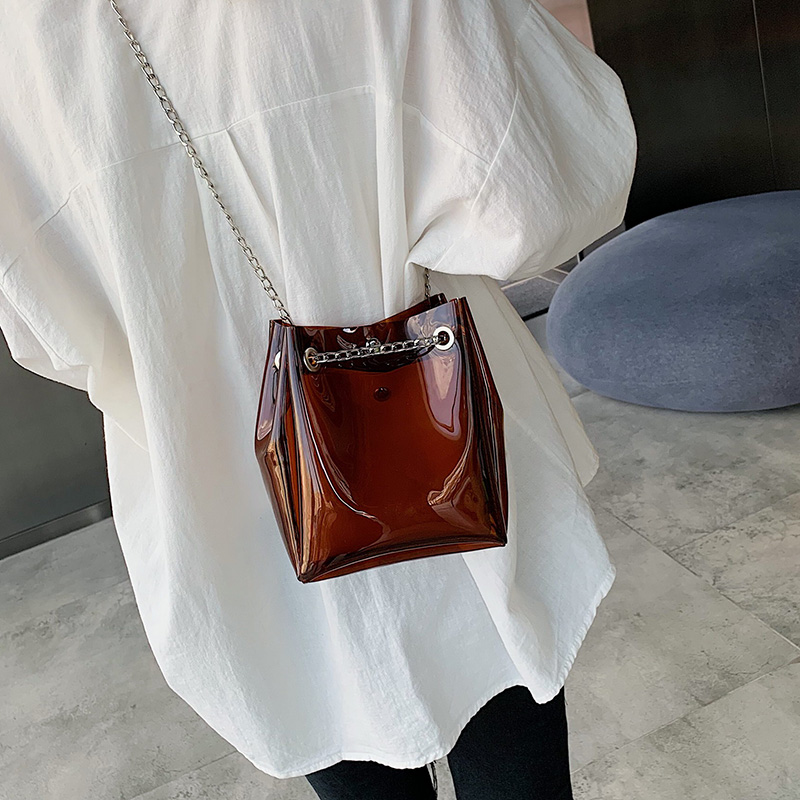 Candy Color Transparent PVC Bucket Bags For Women 2019 Small Crossbody Bag Summer Beach Shoulder Bags Chain Purses and HandbagsCandy Color Transparent PVC Bucket Bags For Women 2019 Small Crossbody Bag Summer Beach Shoulder Bags Chain Purses and Handbags