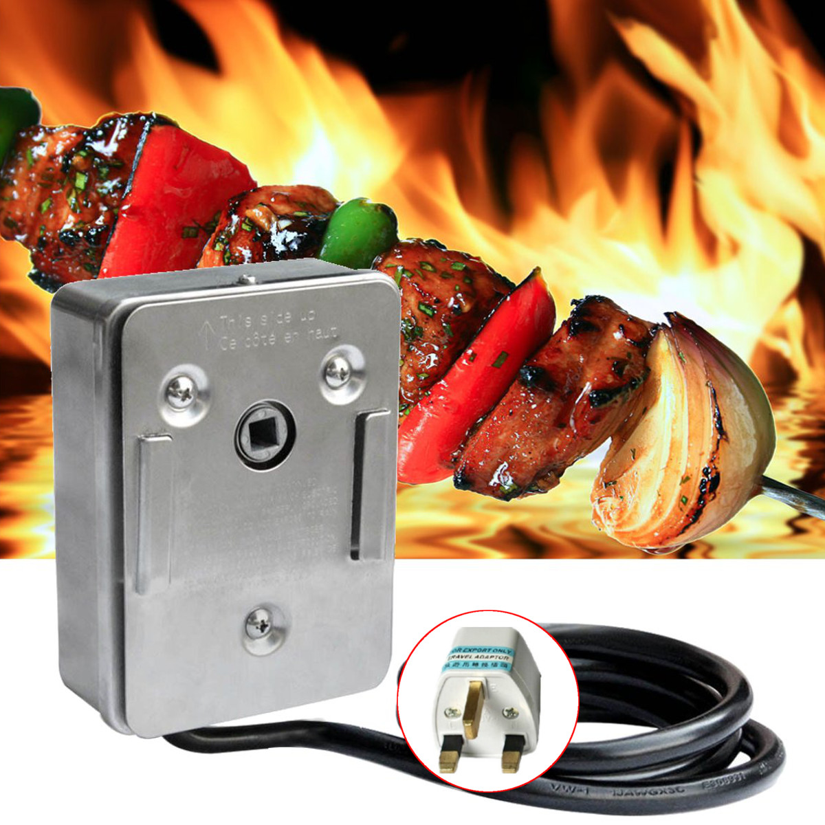 220V Onlyfire Universal Grill Electric Replacement BBQ Grill Heavy Duty Stainless Steel Rotisserie Motor Electric Motor extra large stainless steel camping bbq grill 50 5 x 44 5 x 43 cm
