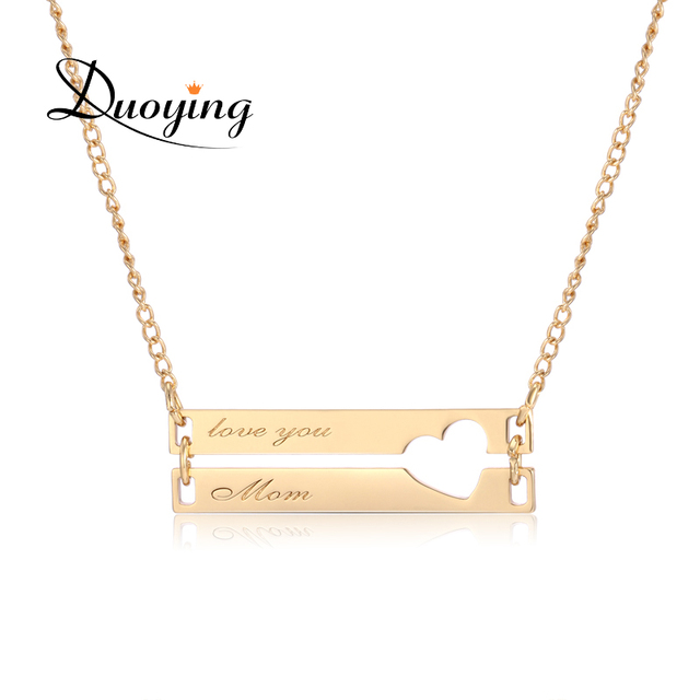 Very Duoying Double Bar Necklaces Hollow Love Personalized Engraved  GB36