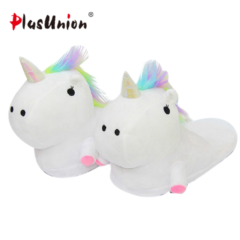 cartoon plush flock winter home indoor unicorn slippers for adult women furry warm shoes animal house cosplay costumes unicornio cute flat indoor winter flock cartoon slippers unisex adult fluffy house warm home animal women cosplay bow plush mules shoes