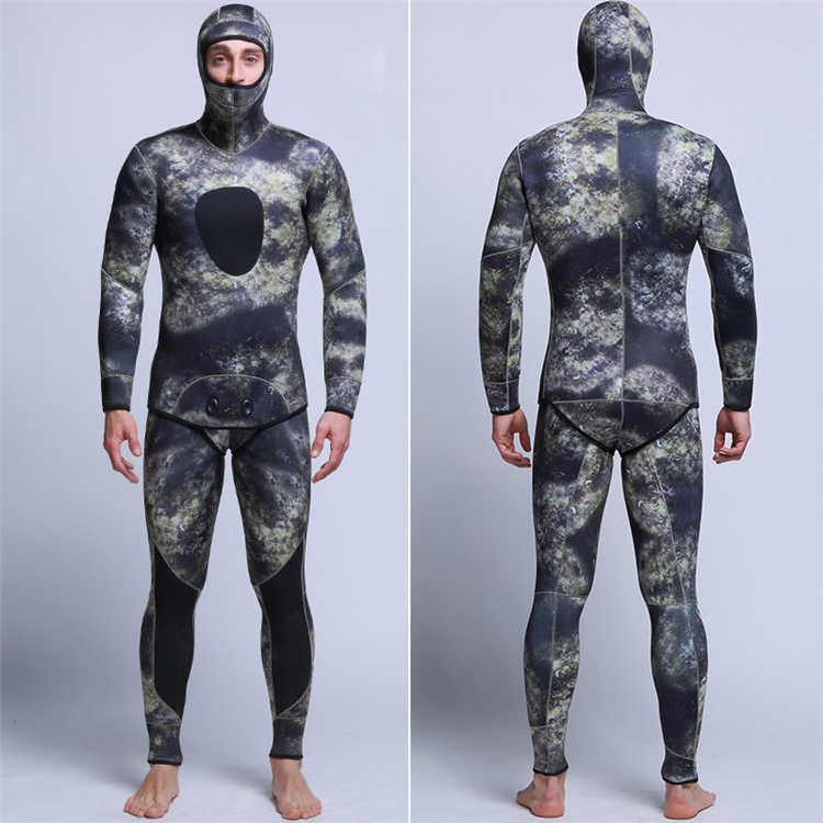Men\'s 5mm SCR Full Suit Camouflage two Piece Splicing Diving Suits Surfing snorkel swimsuit Split Suits combinaison surf wetsuit (1)