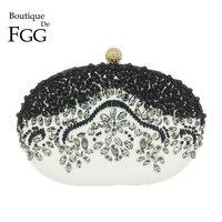 Boutique de FGG Винтаж Овальный Форма лоскутное женский, Черный бисером Вечерние сумки невесты Свадебная вечеринка Бисер сумка и кошелек