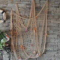 Sea Mediterranean Wind Nautical Fishing Net Seaside Wall Beach Party Sea Shells Home Garden Decor US Shipment