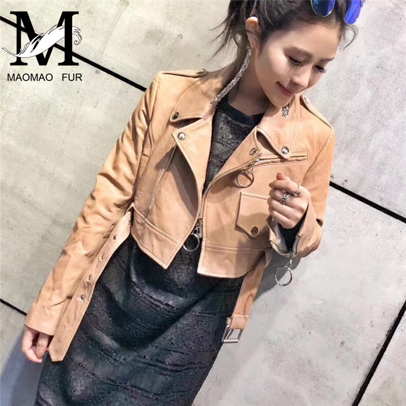 Embroidery Genuine Sheep Leather Jacket for Women Motorcycle Zipper Black Sheepskin Jacket Ladies Fashion Real Lambskin Jacket