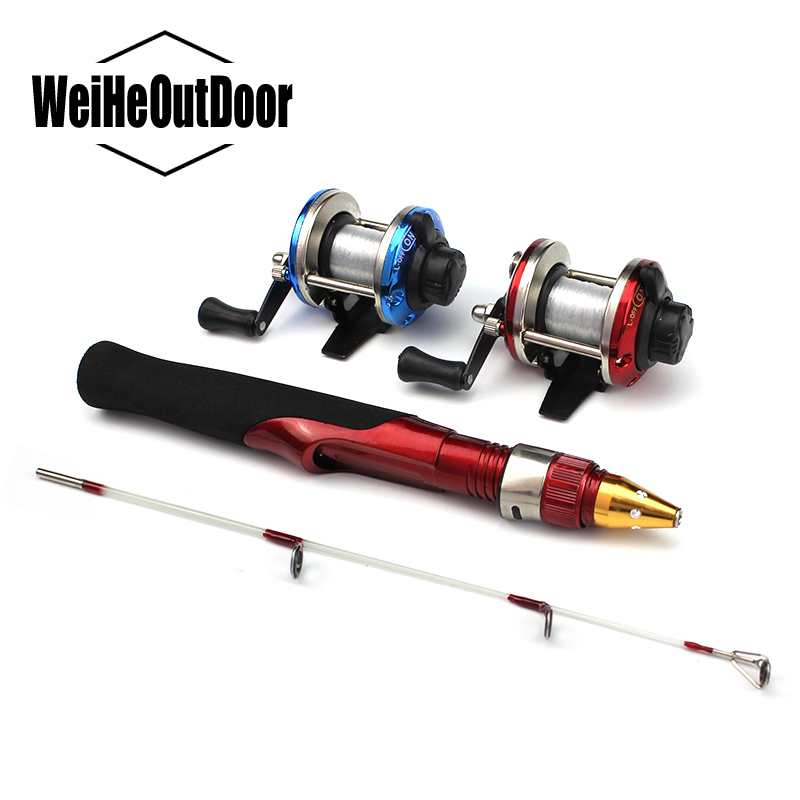 <font><b>2</b></font> Sections Mini Ice Fishing <font><b>Rod</b></font> Kit Bait Casting Reel Winter 50cm Mini Ice Fishing Pole Blue or Red Wheel for Carp Bass Pesca