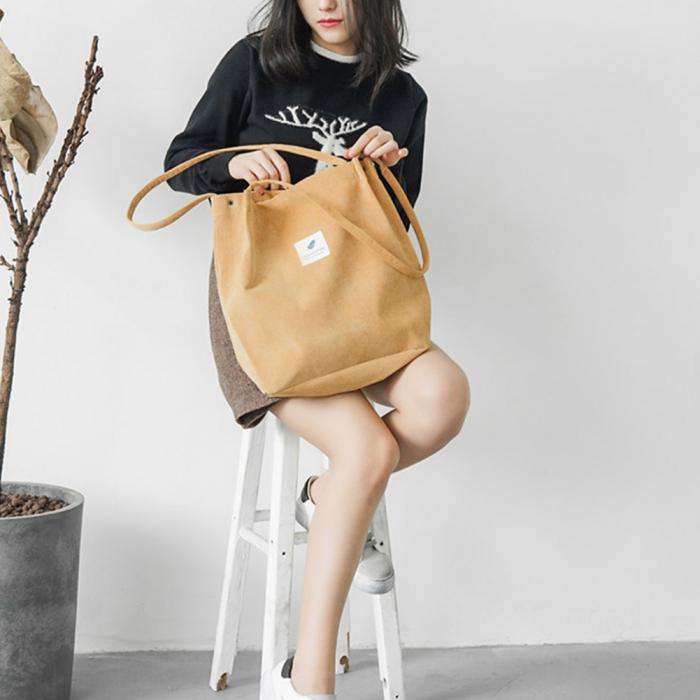 High Capacity Women Corduroy Tote Ladies Casual Shoulder Bag Foldable Reusable Shopping Beach Bag WML99 23