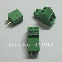 Шаг 3,5 мм Винт Клеммная колодка Разъем зеленый цвет подключаемый тип с pin 2 pin/way 30 шт