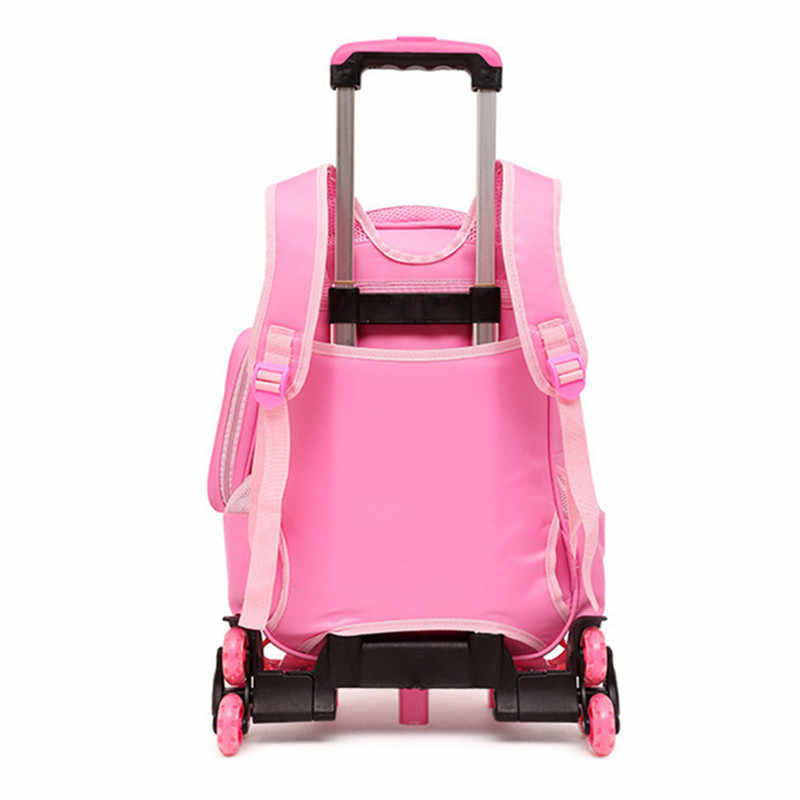 2019 New Kids boys girls Trolley Schoolbag Luggage Book Bags Backpack  Removable Children School Bags 2/6 Wheels climb stairs