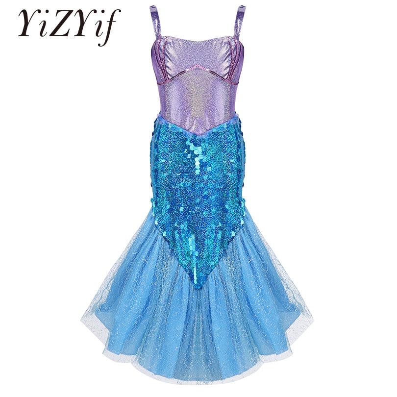 YiZYiF Girls Mermaid Dress Sleeveless Glittery Sequins Princess Dress Mermaid Costume Dress For Halloween Cosplay Party SZ 5-10