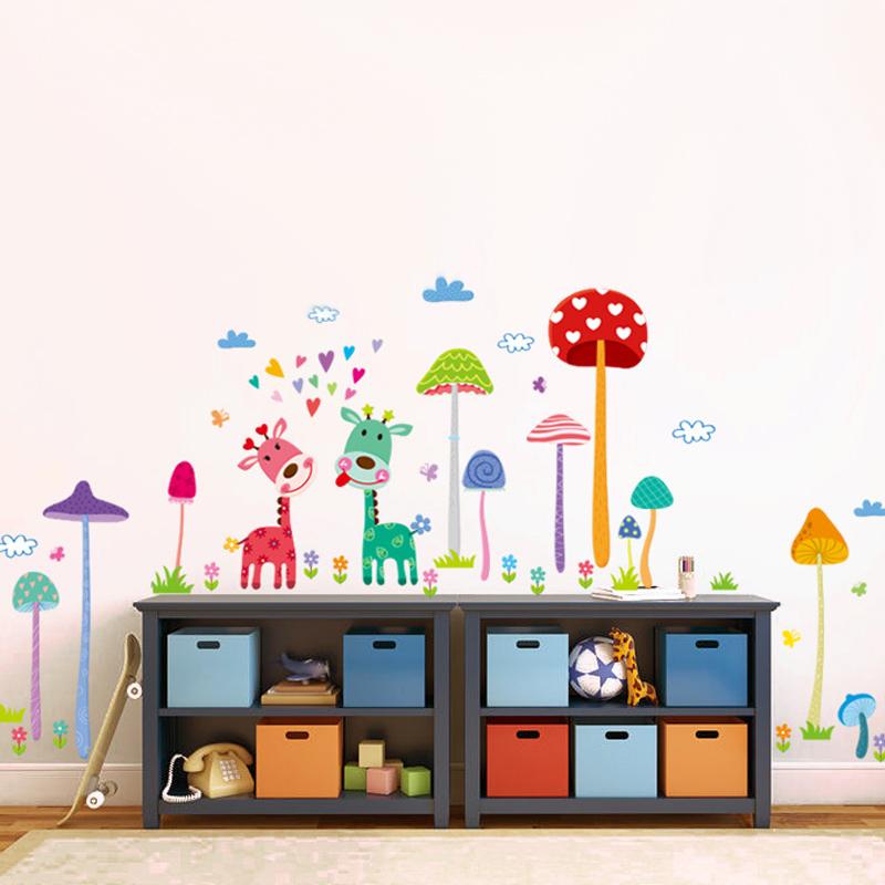 magic mushroom jardn jirafa extrable pvc pegatinas de pared para nios sala de decoracin del hogar