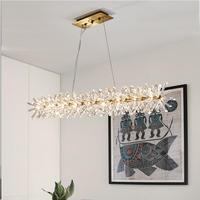 Modern crystal pendant lamp restaurant lamp Nordic designer long LED lamp