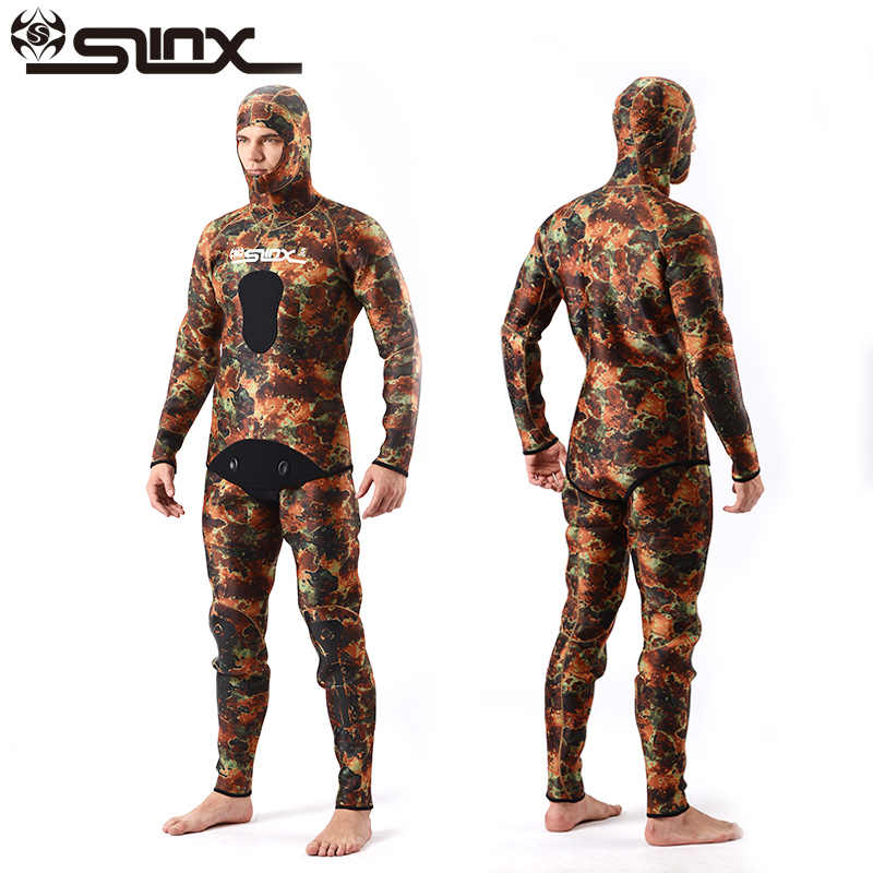 SLINX Two-piece Men Camouflage Wetsuit Swimwear with Headgear 5MM Neoprene Camo Scuba Diving Suit for Fishermen Spearfishing or fabric camouflage leaf headgear