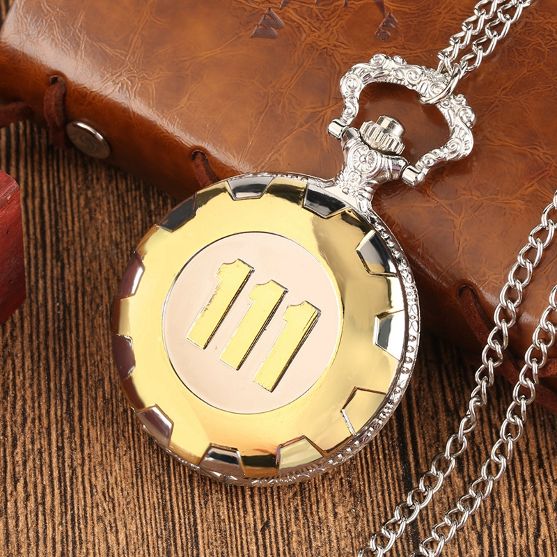Fashion Game Fallout 4 Vault 111  Pocket Watch with 111 Theme Glass Dome Pendant Necklace Pocket Clock Best Gift Sets Box Chain 2018 (41)