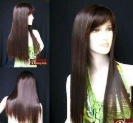 new Great ladies sexy Super Super Long Wavy Brown Hair wigs  Free Shipping