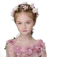 TOP Quality Children Flowers Crown Pink Roses Headwear Gril Headband Party Hairgarland Wedding Hair Accessories Baby