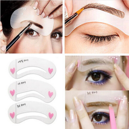 Newest 3PCS  Eyebrow Stencils Eyebrow stencils 3 styles reusable eyebrow drawing guide card brow template DIY make up tools