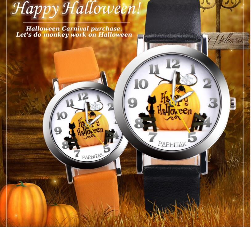 Silver Personalized Unique Fashion Watch Halloween Pumpkin Watch Casual Boy Girl Waterproof Quartz Children's Watch